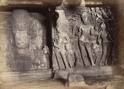 Elephanta - Shiva and Parvati [?Ganga] with the Trimurti